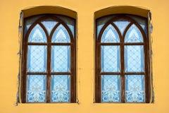 Gebrandschilderd glas oude vensters van Palanok-Kasteel binnen Royalty-vrije Stock Foto