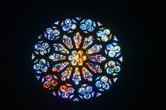 Gebrandschilderd glas Rose Window Stock Afbeelding