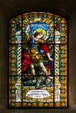 Gebrandschilderd glas in Servische Orthodoxe Kerk van de Heilige Beklimming van Lord in Subotica-stad, Servië Royalty-vrije Stock Foto's