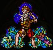 Gebrandschilderd glas - St Christopher Carrying het Kind van Christus royalty-vrije stock foto