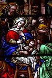 Gebrandschilderd glas van de Geboorte van Christus Stock Foto's
