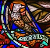 Gebrandschilderd glas van Eagle - de Heilige John de Evangelist Royalty-vrije Stock Fotografie
