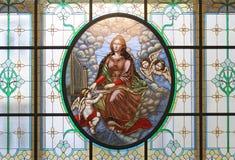Gebrandschilderd glas van Heilige Cecilia, de Serre van Moskou Stock Fotografie