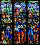 Gebrandschilderd glas van het Vertrek van Pierre Boucher in La Rochelle Royalty-vrije Stock Afbeelding