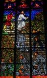 Gebrandschilderd glas in Votivkirche in Wenen, Oostenrijk Stock Afbeelding