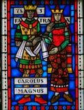 Gebrandschilderd glas in Wormen - Charlemagne en Fastrada royalty-vrije stock fotografie