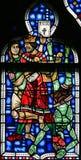 Gebrandschilderd glas in Wormen - Moord van Uriah door Koning David royalty-vrije stock foto