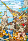 Gebrandschilderd glasbeeld van het verhaal van Mahajanaka stock foto