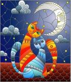 Gebrandschilderd glasillustratie Een paar katten die op het dak tegen de sterrige hemel en de maan zitten vector illustratie
