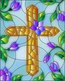 Gebrandschilderd glasillustratie met abstracte Christelijke kruis en bloemen vector illustratie