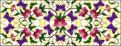 Gebrandschilderd glasillustratie met abstracte krullende roze bloem en een purpere vlinder op gele achtergrond, horizontaal beeld vector illustratie