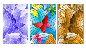 Gebrandschilderd glasillustratie met abstracte vlinders, gekleurde, blauwe en bruine versie royalty-vrije illustratie
