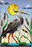 Gebrandschilderd glasillustratie met bruine reiger, riet op een vijver in de zon, de hemel en de wolken en zon royalty-vrije illustratie