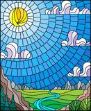 Gebrandschilderd glasillustratie met de het kronkelen rivier op een achtergrond van bergen, bossen en Zonnige hemel royalty-vrije illustratie