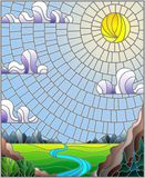 Gebrandschilderd glasillustratie met de het kronkelen rivier op een achtergrond van bergen, bossen en Zonnige hemel stock illustratie