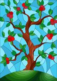 Gebrandschilderd glasillustratie met een appelboom die zich alleen op een heuvel tegen de hemel bevinden vector illustratie