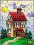 Gebrandschilderd glasillustratie met een eenzaam huis op een achtergrond van groene bos en hemel royalty-vrije illustratie