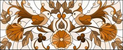 Gebrandschilderd glasillustratie met een paar abstracte vogels, bloemen en patronen, bruine toon, horizontaal beeld Stock Afbeelding