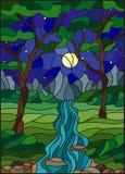 Gebrandschilderd glasillustratie met een rotsachtige Kreek op de achtergrond van de sterrige hemel, de bergen, de bomen en de geb Stock Afbeelding