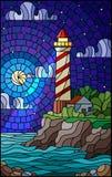 Gebrandschilderd glasillustratie met een vuurtoren op de achtergrond van het overzees, de sterrige hemel en de maan vector illustratie