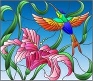 Gebrandschilderd glasillustratie met heldere Kolibrie tegen de hemel, het gebladerte en de bloem van Lelie vector illustratie