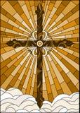 Gebrandschilderd glasillustratie met het Christelijke kruis op een achtergrond van hemel en wolken, bruine toon, Sepia Stock Foto's