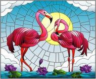 Gebrandschilderd glasillustratie met paar Flamingo, Lotus-bloemen en riet op een vijver in de zon, de hemel en de wolken Royalty-vrije Stock Foto's