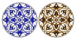 Gebrandschilderd glasillustratie met ronde bloemenregelingen, blauwe en bruine toon vector illustratie