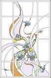 Gebrandschilderd glaspaneel in een rechthoekig kader in de Jugendstilstijl stock illustratie