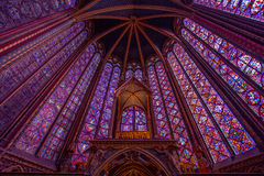 Gebrandschilderd glaspatroon in Sainte Chapelle in Parijs Royalty-vrije Stock Fotografie