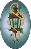 Gebrandschilderd glaspatroon van oude bruine lantaarn met groene bladeren en ovale achtergrond vector illustratie