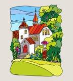 Gebrandschilderd glasstijl. Landschap met herenhuis vector illustratie