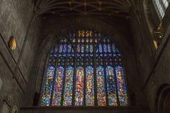 Gebrandschilderd glasvenster in Chester Cathedral royalty-vrije stock fotografie
