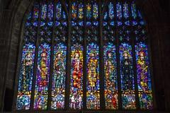 Gebrandschilderd glasvenster in Chester Cathedral stock afbeeldingen