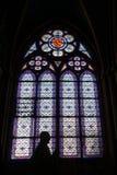 Gebrandschilderd glasvenster met Silhouet Binnenlandse Notre Dame Cathedral royalty-vrije stock afbeeldingen
