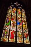 Gebrandschilderd glasvenster van binnen de Dom kerk in Keulen Stock Afbeeldingen