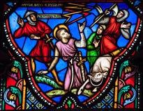 Gebrandschilderd glasvenster van Paulus-het vallen van zijn paard Royalty-vrije Stock Foto's