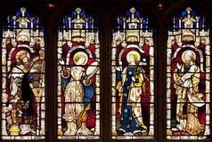 Gebrandschilderd glasvenster in Wadham-Universiteitskapel, Oxford, Oxfordshire, het Verenigd Koninkrijk royalty-vrije stock afbeelding