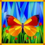 Gebrandschilderd glasvlinder Royalty-vrije Stock Afbeeldingen