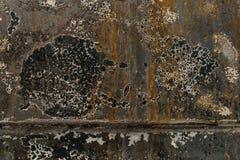 Gebrannte orange blaue Farben des gewölbten Lacks auf rostigem Metall-surfa Stockbilder