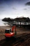 Gebrannte Ruinen von Hasting Pier 2010 Lizenzfreies Stockfoto