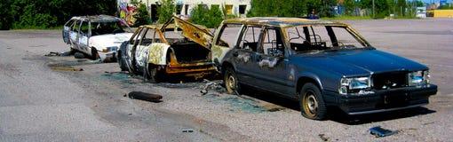 Gebrannte und zerstörte Autos Lizenzfreie Stockbilder