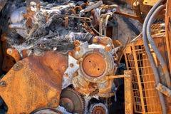 Gebrannter Abstieg und Rusty Industrial Machine stockfotografie