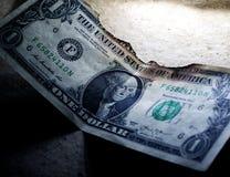Gebrannter Dollar-Abschluss oben stockfoto