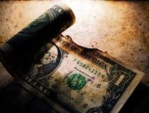 Gebrannter Dollar-Abschluss oben stockbilder
