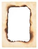 Gebrannter Rand-Papierrahmen Stockfoto