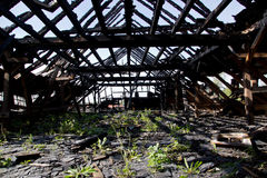 Gebranntes Dach Stockfotos