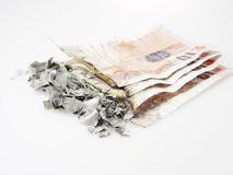 Gebranntes Geld lizenzfreies stockbild