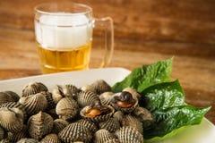 Gebranntes und kaltes Bier der Herzmuschel Stockfoto