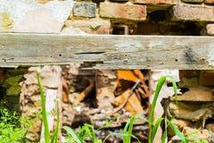 Gebranntes verlassenes Haus in weißem Clay Creek stockfotos
